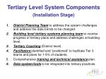 tertiary level system components installation stage