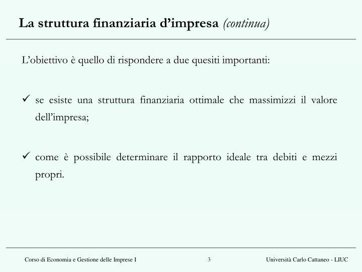 La struttura finanziaria d impresa continua