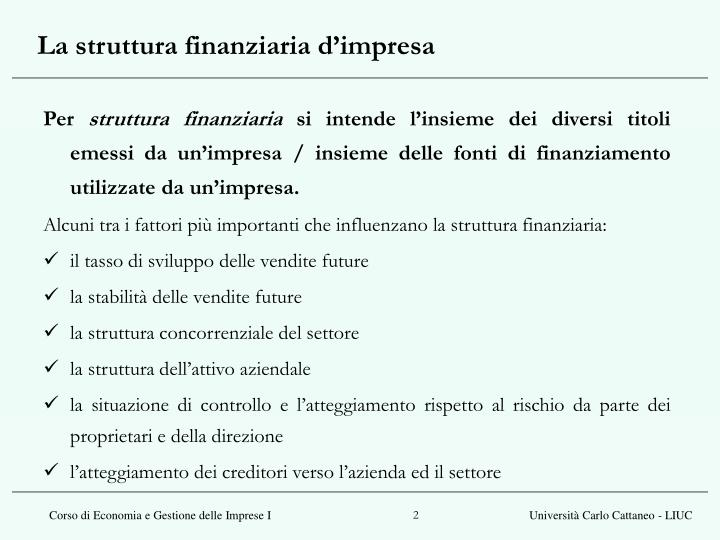 La struttura finanziaria d impresa