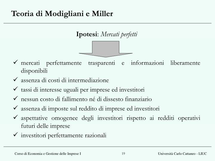 Teoria di Modigliani e Miller