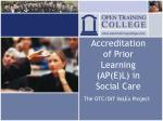 accreditation of prior learning ap e l in social care