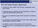 otc dit valex project objectives
