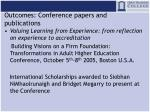 outcomes conference papers and publications