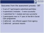 outcomes from the assessment process dit