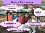 needs of esl learners