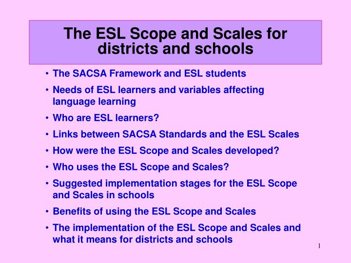 the esl scope and scales for districts and schools n.