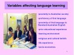 variables affecting language learning