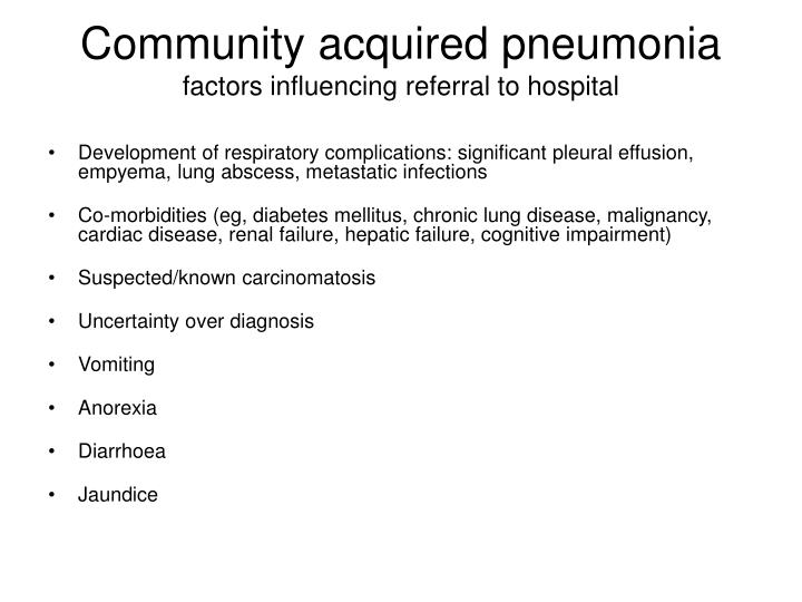 Community acquired pneumonia