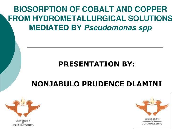 biosorption of cobalt and copper from hydrometallurgical solutions mediated by pseudomonas spp n.