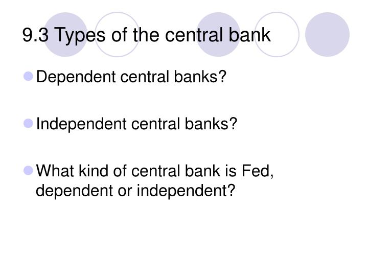 9.3 Types of the central bank