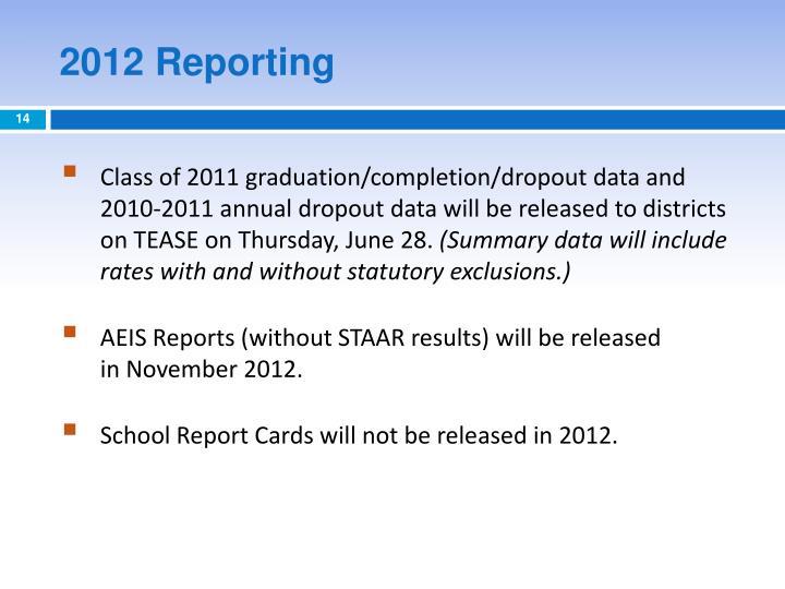 2012 Reporting