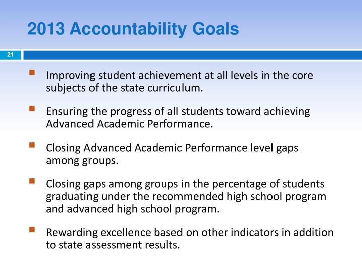 2013 Accountability Goals
