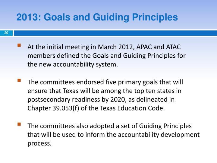 2013: Goals and Guiding Principles