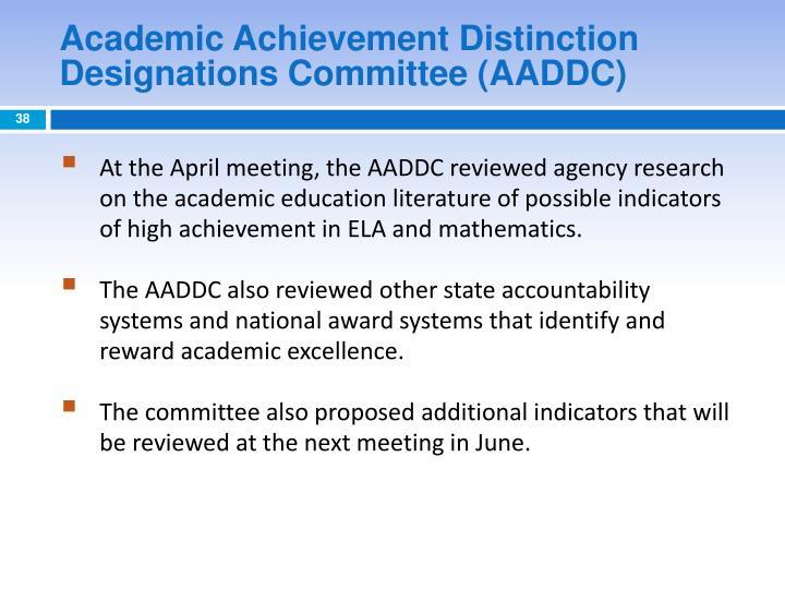 Academic Achievement Distinction Designations Committee (AADDC)