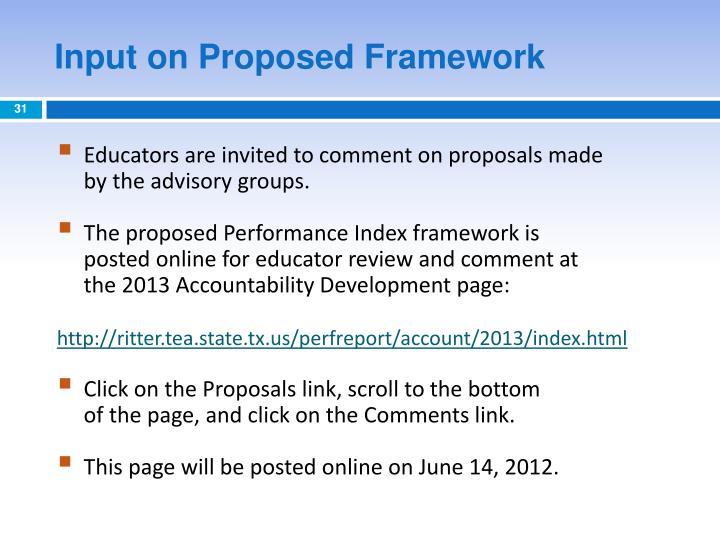 Input on Proposed Framework