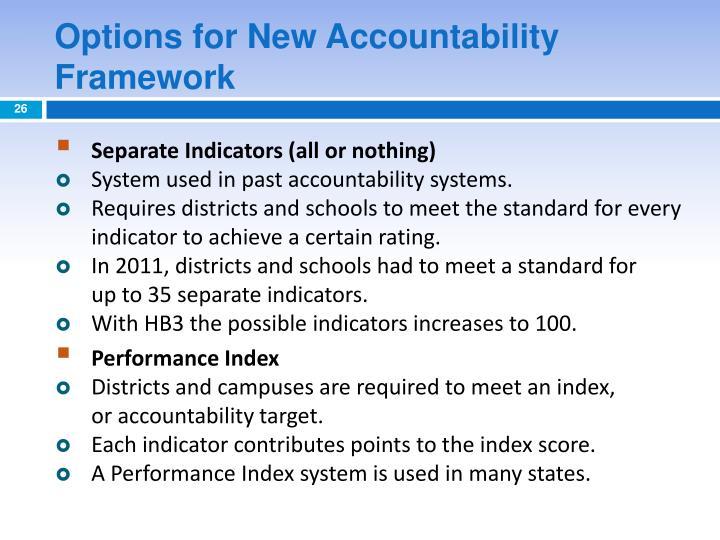 Options for New Accountability Framework