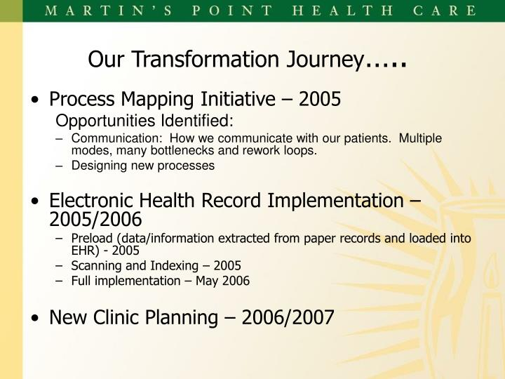 Our transformation journey