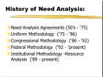history of need analysis