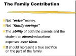 the family contribution