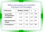 mittlere anreizsummen f r verschiedene folgentypen und t tergruppen