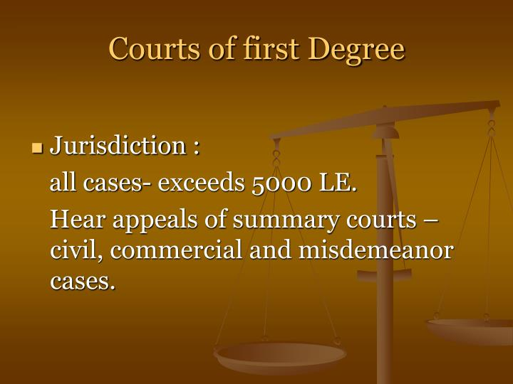 Courts of first Degree