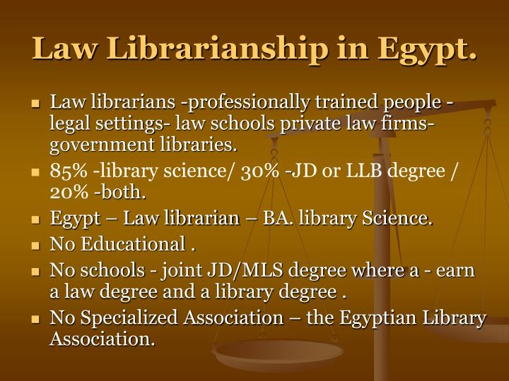 Law Librarianship in Egypt.