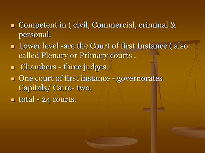 Competent in ( civil, Commercial, criminal & personal.