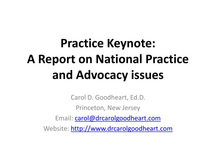 practice keynote a report on national practice and advocacy issues n.