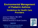 environmental management of pediatric asthma guidelines for health care providers