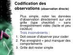 codification des observations observation directe