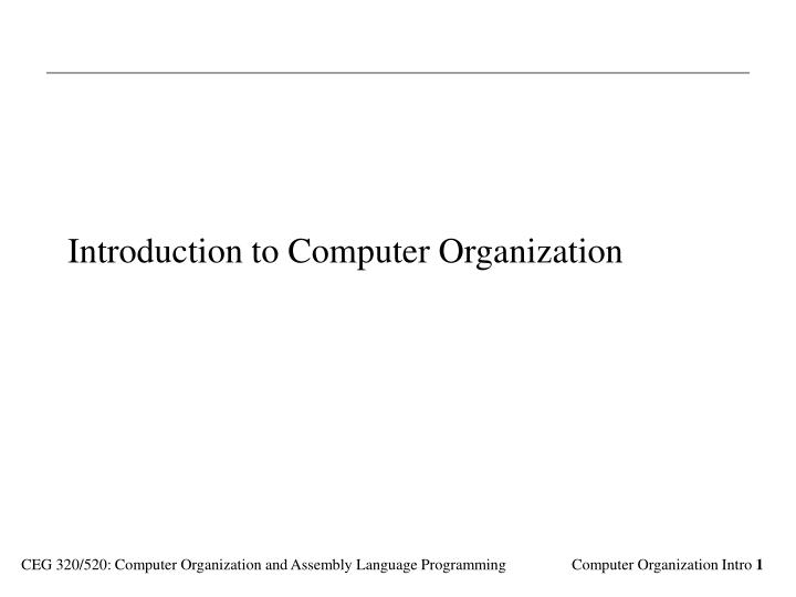 introduction to computer organization n.