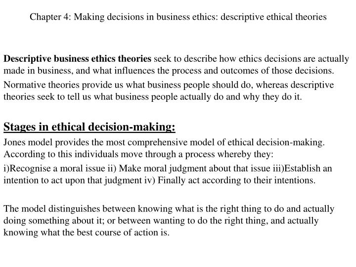 chapter 4 making decisions in business ethics descriptive ethical theories n.