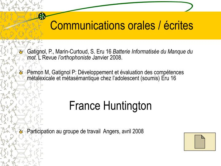 Communications orales / écrites