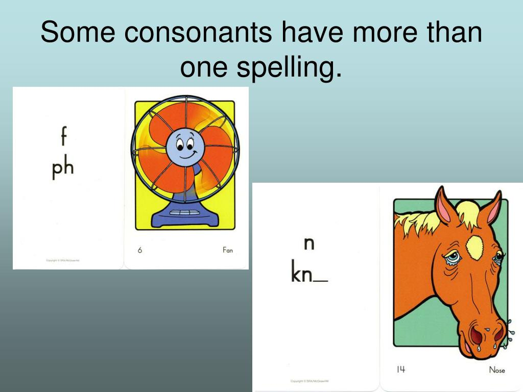 Some consonants have more than one spelling.