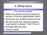 4 write items