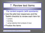 7 review test items