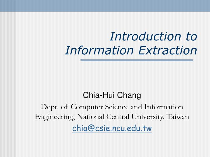 introduction to information extraction n.