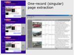one record singular page extraction
