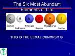 the six most abundant elements of life