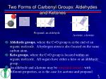 two forms of carbonyl groups aldehydes and ketones