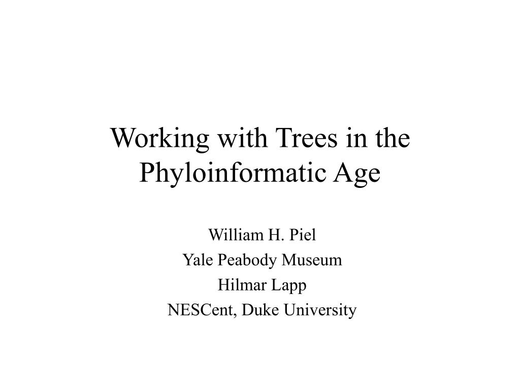 working with trees in the phyloinformatic age l.