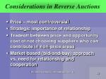 considerations in reverse auctions