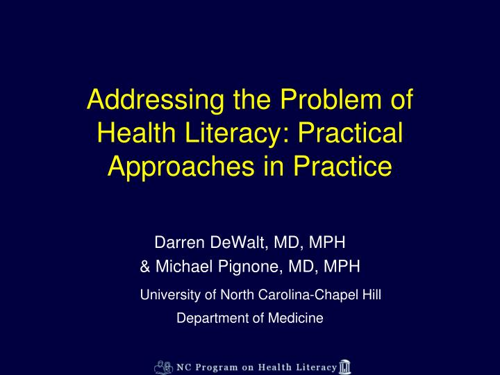 addressing the problem of health literacy practical approaches in practice n.