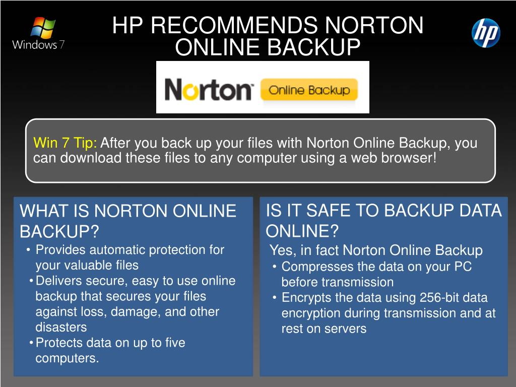 HP RECOMMENDS NORTON ONLINE BACKUP