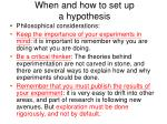 when and how to set up a hypothesis