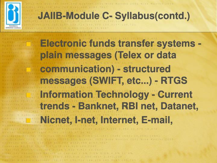JAIIB-Module C- Syllabus(contd.)