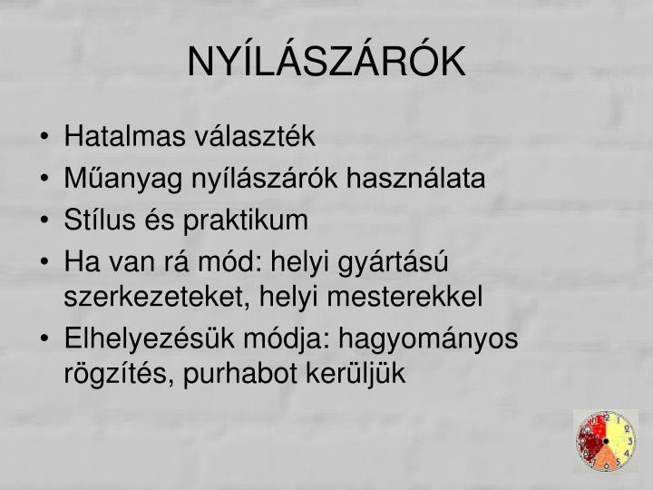 NYÍLÁSZÁRÓK