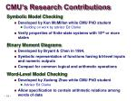 cmu s research contributions