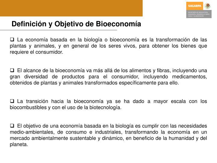 Definición y Objetivo de Bioeconomía