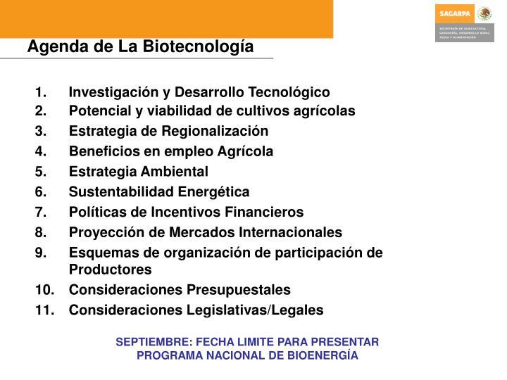 Agenda de La Biotecnología